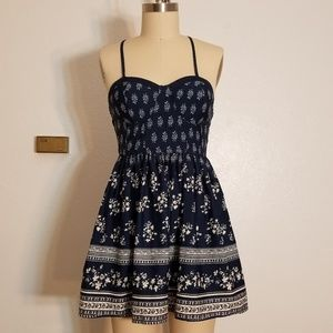 Navy Floral Bustier Gathered Skirt Lace Back Dress
